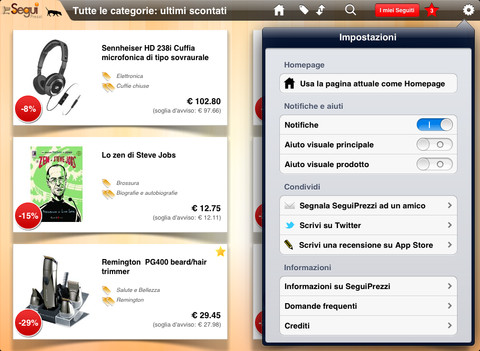 Screenshot SeguiPrezzi per iPad - Share